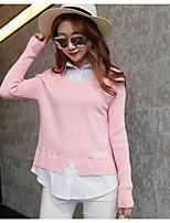 Damen Standard Pullover-Ausgehen Einfach Solide Rot / Schwarz / Grau / Gelb Hemdkragen Langarm Baumwolle Herbst Mittel