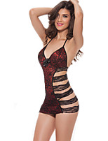 Women Chemises & Gowns / Lace Lingerie Nightwear,Sexy Patchwork-Thin Spandex Purple / Red Women's