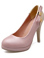 Women's Shoes PU Summer / Round Toe Heels Office & Career / Casual Stiletto Heel Bowknot Blue / Pink / Beige