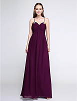 Lanting Bride®Floor-length Chiffon Bridesmaid Dress - Elegant Sheath / Column Spaghetti Straps with Beading / Criss Cross