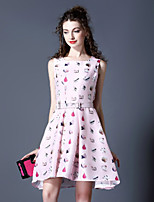 Boutique S Women's Going out Cute Skater Dress,Print Round Neck Above Knee Sleeveless Pink Polyester Summer