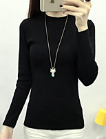 Women's Casual/Daily Simple Regular Pullover,Solid Round Neck Long Sleeve Cotton Fall / Winter Medium
