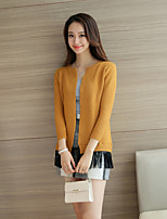 Women's Casual/Daily Street chic Regular Cardigan,Solid Yellow Round Neck Long Sleeve Cotton Fall / Winter Medium