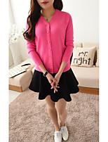 Damen Standard Pullover-Lässig/Alltäglich Einfach Solide Rosa / Rot Rundhalsausschnitt Langarm Baumwolle Herbst Mittel