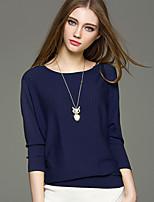 Mara Carol® Women's Round Neck Long Sleeve Sweater & Cardigan Green / Dark Green / Royal Blue-1619120