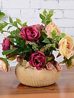 11 Head European Style Crimping Rose+Golden Flowerpot