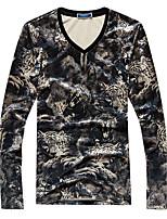 Masculino Camiseta Algodão / Outros Estampado / Leopardo Manga Comprida Casual / Escritório / Esporte-Marrom