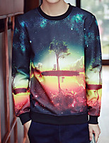 Men's Print Casual / Plus Size SweatshirtPolyester Long Sleeve Blue