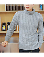 Men's Solid Casual Pullover,Wool Long Sleeve Black / Red / Gray
