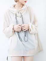 Women's Casual/Daily / Beach / Holiday Active Trench Coat,Solid Stand Long Sleeve Summer Beige Cotton Thin
