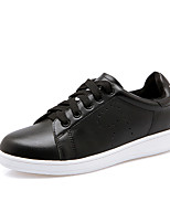 Women's Sneakers Fall Comfort / Round Toe / Closed Toe Leather Casual Flat Heel  Black / White Walking