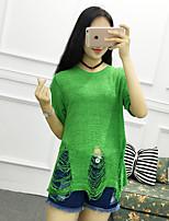 Damen Lang Pullover-Ausgehen / Lässig/Alltäglich Einfach Solide Weiß / Schwarz / Grün / Gelb / Gold Rundhalsausschnitt Kurzarm Baumwolle