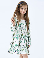 Girl's Cotton Spring/Autumn Print Long Sleeve Cotton Princess Green Dresses