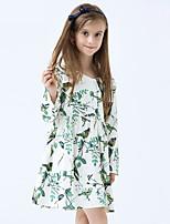 Mädchen Kleid-Lässig/Alltäglich Druck Baumwolle Frühling / Herbst Grün
