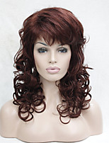 New Fashion Auburn Red Curly Medium Length Synthetic Wig