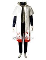 Ispirato da Naruto Minato Namikaze Anime Costumi Cosplay Abiti Cosplay Tinta unita Bianco / Verde / Blu inchiostro Maniche corteMantello