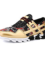 Women's Sneakers Spring / Fall Round Toe PU Athletic Flat Heel Others / Lace-up Black / White / Gold Running