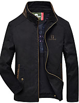 Men's Long Sleeve Casual / Work / Formal Jacket,Cotton Solid Black / Brown / Green