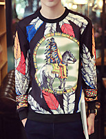 Men's Print Casual / Plus Size SweatshirtPolyester Long Sleeve Black