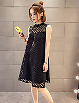 Maternity Casual/Daily Simple Loose Dress,Solid Round Neck Above Knee Sleeveless White / Black Spandex Summer