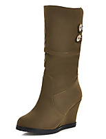 Women's Shoes Winter Riding Boots / Round Toe Boots Dress / Casual Wedge Heel Slip-on Black / Brown / Yellow / Green