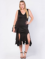 Women's Plus Size / Casual/Daily Sexy Bodycon Dress,Solid Strap Asymmetrical Sleeveless Black Cotton Summer