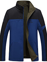 Men's Long Sleeve Casual / Work / Formal Jacket,Polyester Patchwork Black / Blue / Green