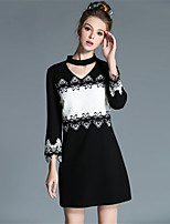 AOFULI Plus Size Women Vintage V-Neck Embroidered Hollow Lace Black White Color Block Dress