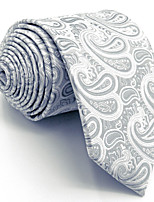 Men's Necktie Tie 100% Silk Light Gray Paisley Jacquard Woven Dress For Men