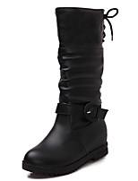 Mujer-Tacón Bajo-Botas de Nieve / Punta Redonda / Botas de Moto-Botas-Vestido-Semicuero-Negro / Marrón / Amarillo