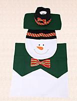3pcs pajarita muñeco de nieve navidad asiento del inodoro cubierta decoración tanque de tapa y alfombra de baño decoración de interior