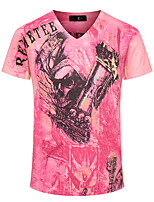 Print-Informeel / Sport / Grote maten-Heren-Katoen-T-shirt-Korte mouw Rood