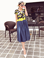 Boutique S Women's Going out Sexy / Summer Set Skirt,Print Round Neck Short Sleeve Blue Polyester Opaque/Set