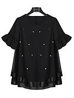 Women's Patchwork Black Blouse,Round Neck Short Sleeve