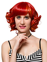 Red highlights short curly hair fashion wigs Synthtic Wigs