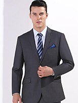 Suits Standard Fit Notch Single Breasted Two-buttons Polyester Solid 2 Pieces Gray Slanted Flapped