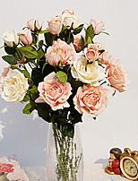 1 1 Ramo Poliéster / Plástico Rosas Flor de Mesa Flores artificiais 29.9inch/76cm