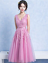 Cocktail Party Dress Ball Gown V-neck Tea-length Lace / Tulle with Beading / Lace / Sash / Ribbon