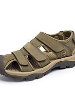 Sapatos Masculinos-Sandálias-Marrom / Verde / Caqui-Couro-Casual
