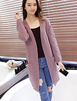 Women's Going out Cute Long Cardigan,Solid  V Neck Long Sleeve Cotton / Acrylic / Polyester Fall / Winter Medium