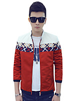 All Seasons Casual/Daily/Plus Size Men's Jacket Round Neck Long Sleeve Slim Printing Thin Coat