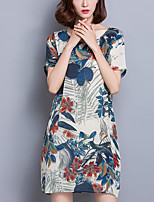 Women's Casual/Daily Vintage Loose Dress,Floral / Print Round Neck Above Knee Short Sleeve