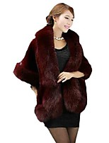 Women's Casual/Daily Street chic Fur Coat,Solid Cowl ¾ Sleeve Winter