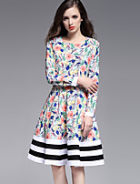 Boutique S Going out /Daily / Holiday/ Cute Sheath Dress,Floral Round Neck Knee-length Long Sleeve Blue / Pink Cotton