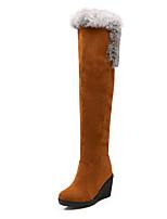 Mujer-Tacón Cuña-Botas de Nieve / Punta Redonda-Botas-Vestido / Casual-Semicuero-Negro / Amarillo / Rojo / Beige