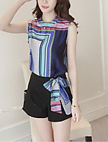 Women's Casual/Daily Vintage / Simple Spring / Summer Blouse Pant,Geometric Round Neck Sleeveless