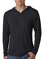 Herren T-shirt-Einfarbig Freizeit Baumwolle Lang-Schwarz / Blau / Weiß / Grau