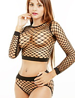 Women Sexy Sleepwear Black Hollow Round Neck Long-sleeved Seamless Mesh Temptation Lingerie