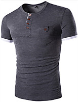 Men's Print Casual / Sport T-Shirt,Cotton Short Sleeve-Blue / Gray