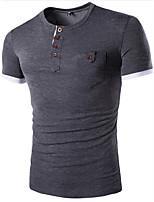 Effen-Informeel / Sport-Heren-Katoen-T-shirt-Korte mouw Blauw / Rood / Grijs